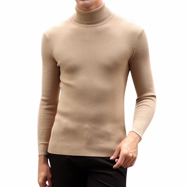 Lisli Mens Casual Básico de Malha Blusas de Gola Alta Slim Fit Pullover Térmica 01C0576