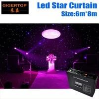 Super Prijs 6 M * 8 M Brandwerende LED Ster Gordijn, Starlite LED Backdrops Korting Prijs Wedding Achtergrond, RGB/RGBW F5 Ster Doek