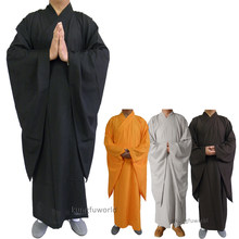 High quality Shaolin Temple Buddhist Monk Dress Haiqing Robe Martial arts Meditation Kung fu Suit Wushu Uniform(China)