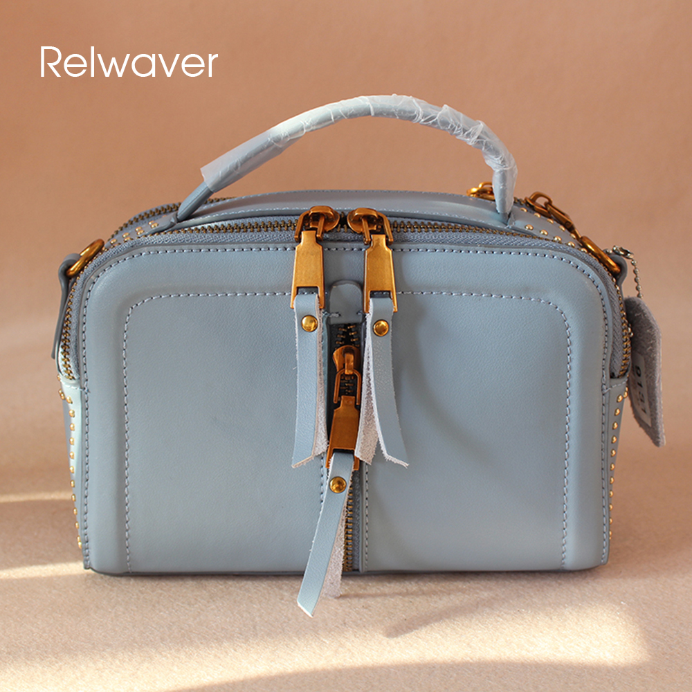 Relwaver small box women's shoulder bag cowhide split leather blue motercycle zipper tassel fashion women bag messenger bags 2017 fashion all match retro split leather women bag top grade small shoulder bags multilayer mini chain women messenger bags