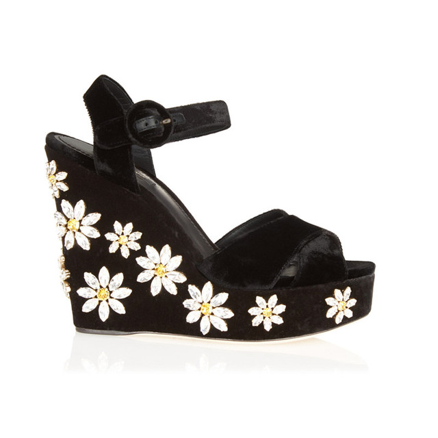 a287df603694 Bling Rhinestone Daisy Crystal Embellished Velvet Wedges Platform Sandals  Open Toe Ankle Strappy Summer Shoes Woman High brand