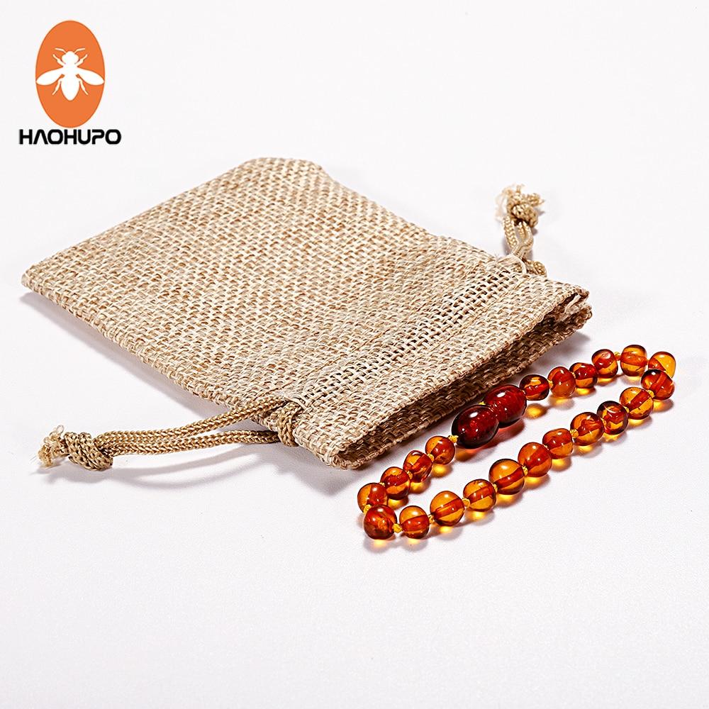 HAOHUPO Cognac Amber Tumbuh Gigi Gelang Gelang 4.7--8.7 '' Handmade Asli Perhiasan Manik-manik Amber Baltik untuk Bayi Dewasa ...