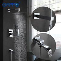 GAPPO Wall Bathroom Shower Faucet Spout Set Rainfall Bath Faucet Chrome Bathtub Faucet Tap Shower Head