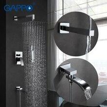 GAPPO настенный смеситель для ванной комнаты носик набор дождевых ванн Кран хромированный смеситель для ванной кран душевая головка Ванна Душ в Хань душ