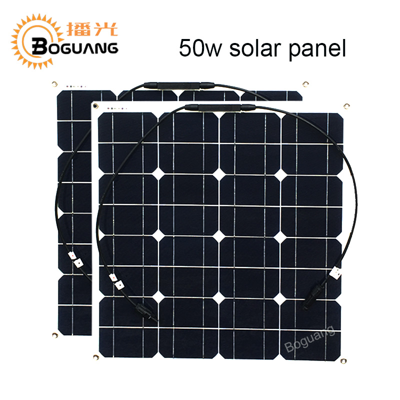 Boguang 2pcs 50w solar panel Monocrystalline silicon cell module 12v Solar system battery power solar charger MC4 connector