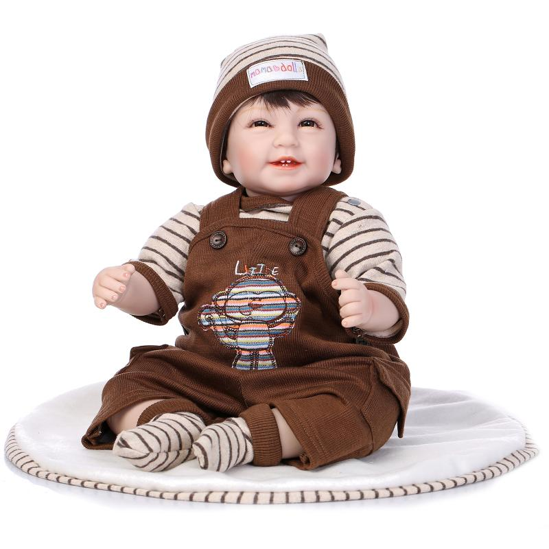 55 CM nouveau-né poupée Silicone Reborn poupées réel Reborn bébés sourire garçon poupée jouets noël nouvel an cadeaux pour enfants/amis