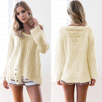 Sexy Long Sleeve Loose Knitted Sweater Women Brand Pullovers Knitwear Autumn Winter 2017 Jumper Pull Femme