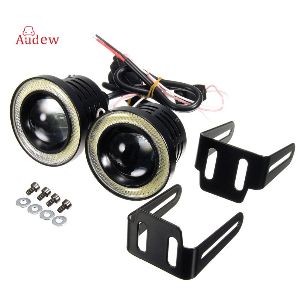 2x Universal 2.5 Inch Projector COB LED Car Fog Light Halo Angel Eyes Rings DRL White Green Amber 12V Road Fog Lampm mayitr 2pcs 3 5 car cob led angel eyes fog light lens projector led halo ring white fog drl driving lamp 12v suv atv off road