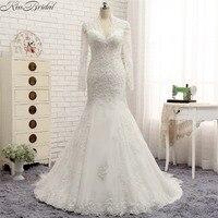 Robe De Mariage Modest Design Long Sleeve Wedding Dresses 2018 V Neck Vintage Lace Bride Wedding
