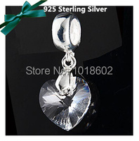 925 Sterling Silver Pendant Cystal Heart Charm Fashion Accessories Dangle Bead Fit Europe Bracelet Necklace 1pc