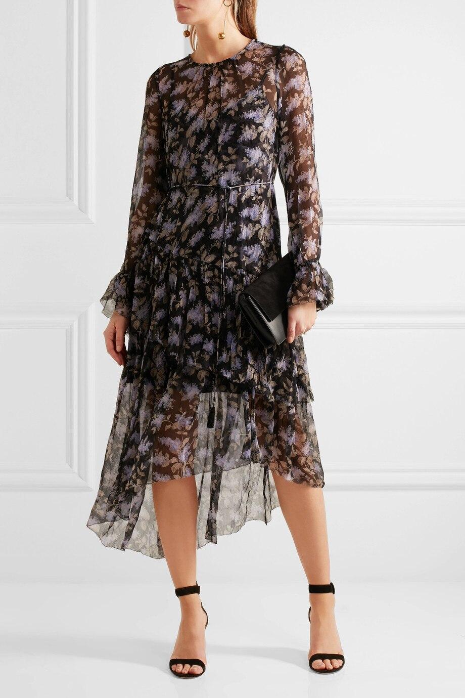 Women Stranded Tier Long Dress Black Lavender Floral Silk Crinkle Georgette Floral Shift Dress Ruffled Floral-Print Dress