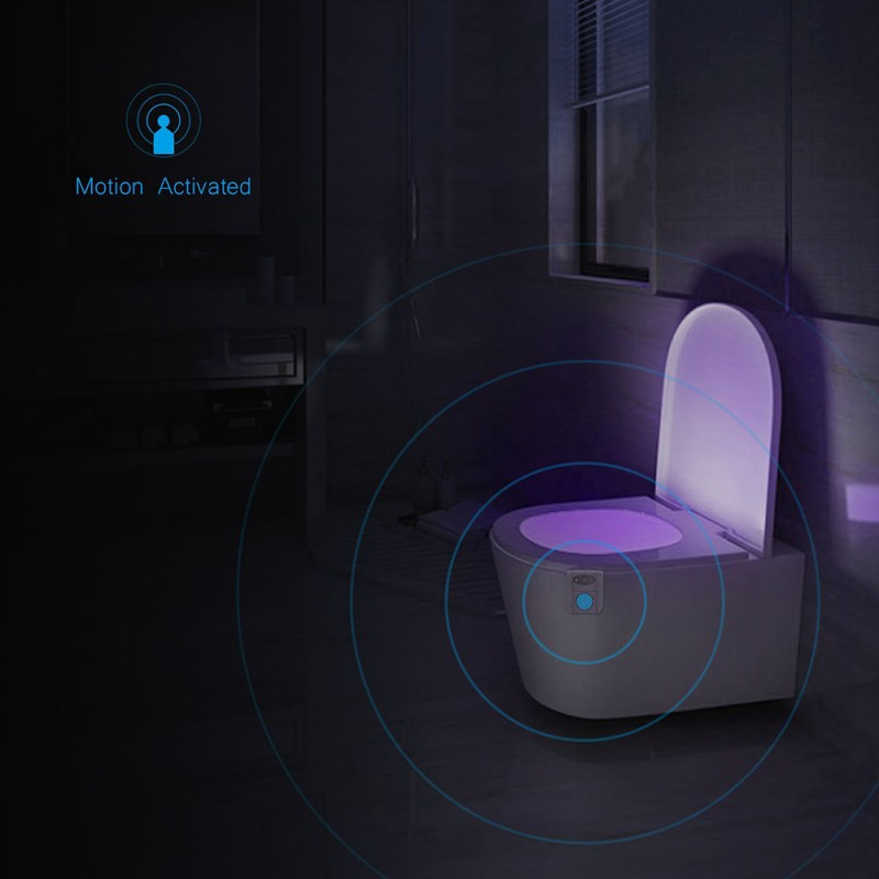 LED Smart Bathroom Toilet Night Light Body Motion Activated On/Off Seat Sensor Lamp 16 Color