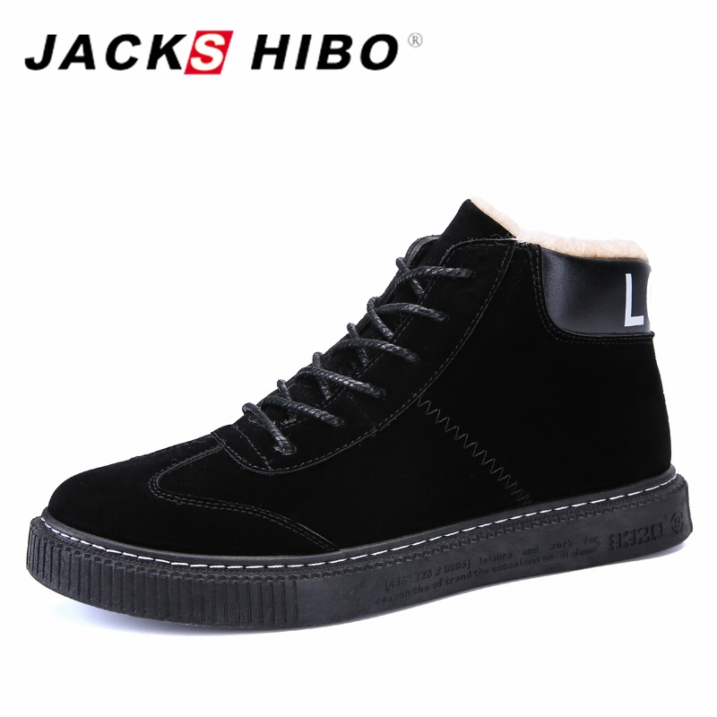 JACKSHIBO Mens Shoes Casual Winter Sneakers for Men Add Short Plush Shoes Adults Black Color Warm Footwear Shoes Zapatos Hombre