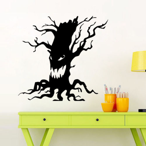 Halloween Spooky Tree Face.Us 17 11 14 Off Spooky Tree Vinyl Wall Sticker Halloween Scary Tree Face Wall Decal Home Decor In Wall Stickers From Home Garden On Aliexpress Com