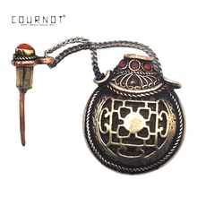 COURNOT Tibetan Turquoise Red Coral Carved Brass Spoon Snuff Bottle Pendant 46MM Metal Snuff Snorter Dispenser Nasal Tube Pipe