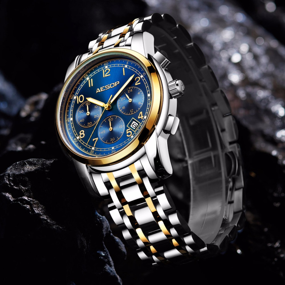 купить AESOP Fashion Blue Men Watch Quartz Wristwatch Stainless Steel Band Men Male Clock Wrist Waterproof Relogio Masculino Hodinky онлайн