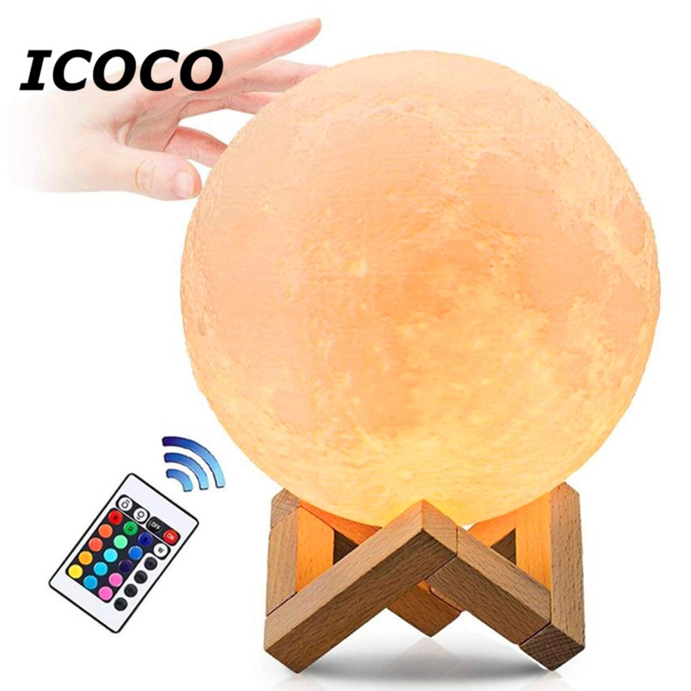 3D printing Luna rechargeable lamp 16/2 Color change light touch night Lunar Moon baby Nightlight3D printing Luna rechargeable lamp 16/2 Color change light touch night Lunar Moon baby Nightlight