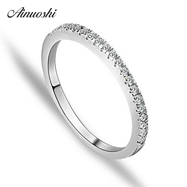 AINUOSHI Classic Row Drill Engagement Ring 925 Sterling Silver Rings for Women W