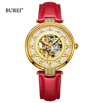 BUREI Women Mechanical Watches Ladies Waterproof Crystal Sapphire Automatic Wrist Watch Leather Clock Gold Saat Relogio Feminino