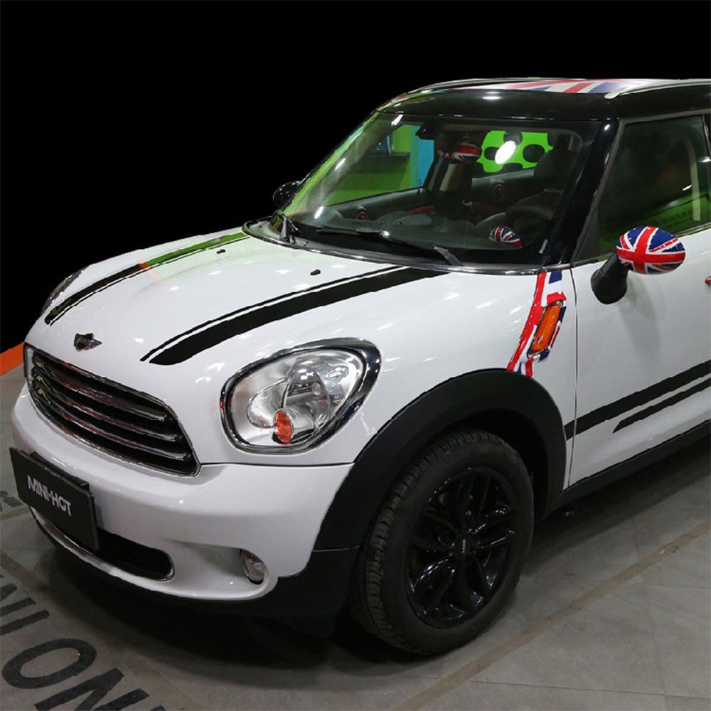 Pair of bonnet hood racing vinyl graphics kit decals stripes stickers for 2010 2016 mini