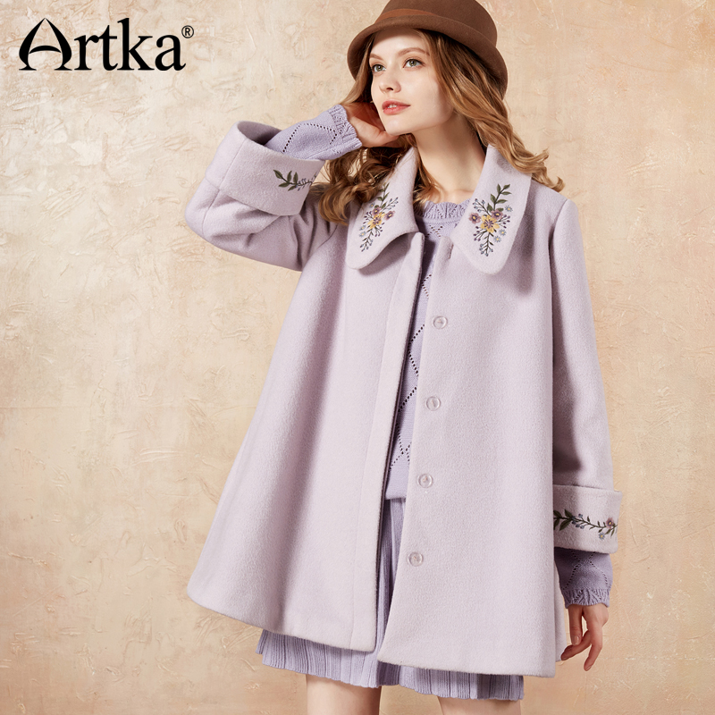 ARTKA 2018 Autumn Winter Vintage Embroidery Wool Contained Mid Length Turn down Collar Coat FA10373D