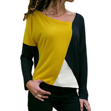 Autumn Long Sleeve Blouse Women 2019 Casual Skew Collar Patchwork Shirt Slim Office Lady Blouses Basic Tops Black Tee Blusas 2XL цена 2017