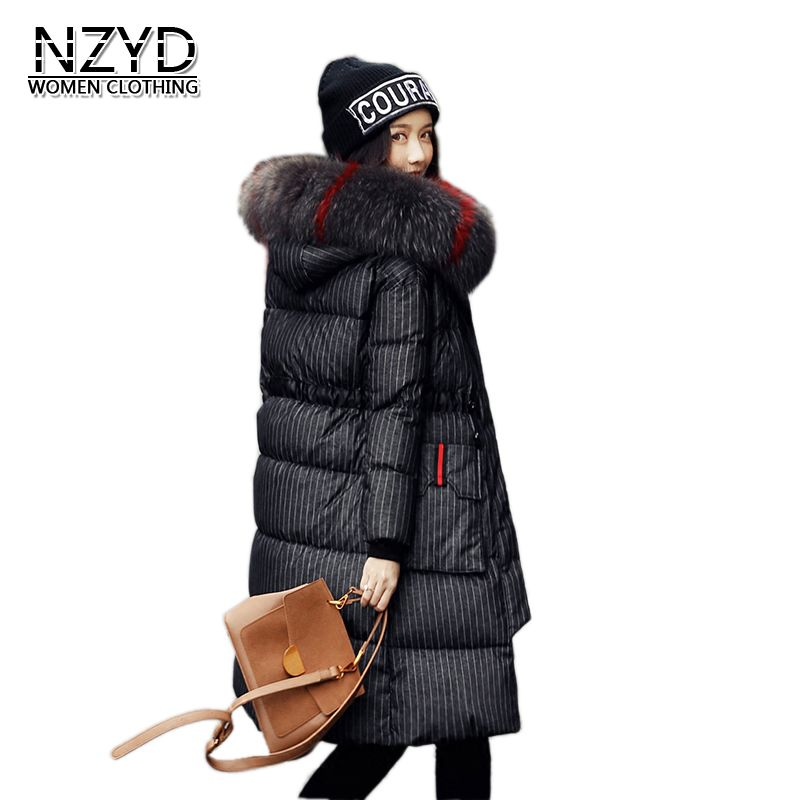 Women Winter Coat 2018 New Style Hooded Fur collar Thick Warm Long Female Jacket Long sleeve White duck down Overcoat LADIES343 new women s fashion authentic korean slim fur collar down jacket female long thick warm white duck down jacket for snow h1013