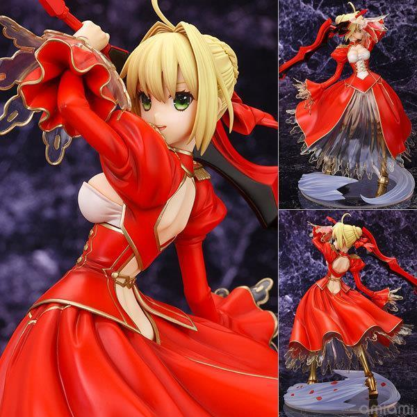 Classic Anime Fate Stay Night Fate/EXTRA Ver. Red Saber PVC Action Figure Collection Model Toy 26CM High Quality Men Toys alen new hot fate stay night racing girl black blue white saber throne pajamas action figure toys collection christmas gift doll