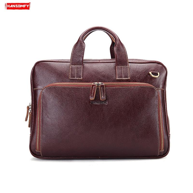 Real Genuine Leather Men Briefcase Cowhide Business Men's Shoulder Messenger Bag Laptop Handbag Male Retro Crossbody Bag