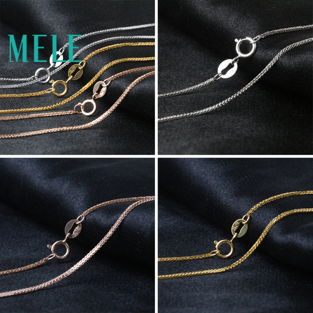 MELE real 18K gold Chopin chain for jewelry pendant,1mm yellow gold rose gold and platinum vegetarian necklace for accessories 6