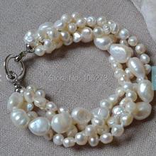 Новинка, жемчужные украшения 8 дюймов, 4 ряда, 6-14 мм, белый цвет, Пресноводный Жемчуг, браслет, свадебные украшения для подружек невесты