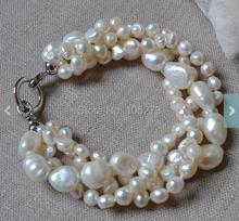 El nuevo Arriver Joyería de Perlas 8 Pulgadas 4 Filas 6-14mm Color Blanco de Agua Dulce Perla Pulsera Del Banquete de Boda de Las Damas de Honor joyería