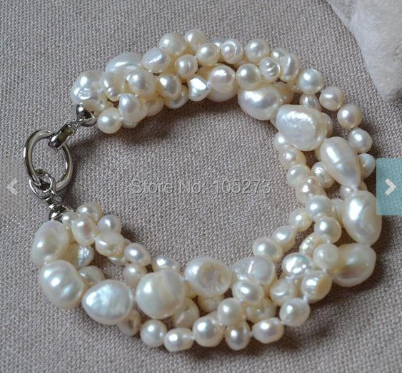 New Arriver Pearl Jewelry 8 Inches 4 Rows 6-14mm White Color Freshwater Pearl Bracelet Wedding Party Bridesmaids Jewelry