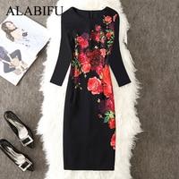 8754b931307 ALABIFU Spring Summer Dress Women 2019 Elegant Vintage Floral Party Dresses  Ladies Office Bodycon Pencil Dress