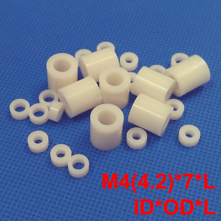 1000pcs M4 4.2*7*6 4.2x7x6 4.2*7*7 4.2x7x7 ID*OD*L ABS Plastic Nylon Round Column Tube Insulation Shim Washer Standoff Spacer 1000pcs 4 5 4x5 4 6 4x6 4x7 4 7 od l black two pit groove cylinder round led mount support pillar isolation column hood spacer