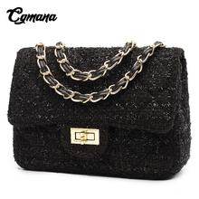 CGMANA Bags For Women 2018 Wool Handbags Messenger Ladies Crossbody Chain Trendy Black Flap Purse Shoulder