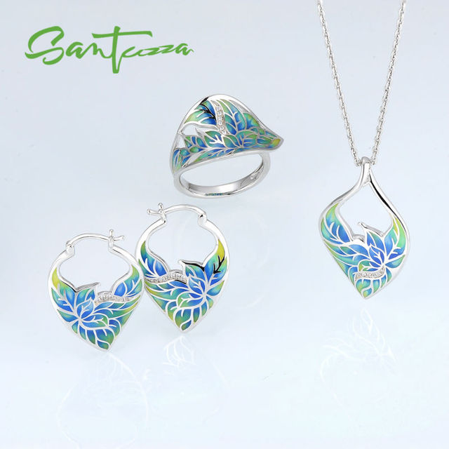 Silver Jewelry Sets for Women HANDMADE Colorful Transparency Enamel Jewelry Set Earrings Ring Pendant Party Fashion Jewelry
