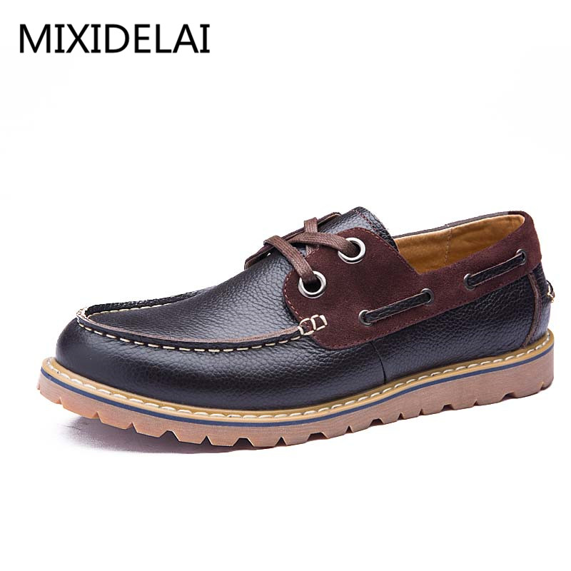 Quality Men Genuine Leather Shoes British Style Lace-up Casual Boat Shoes Men Spring Autumn Zapatoas Hombre, Men's Casual Flats the spring and summer men casual shoes men leather lace shoes soled breathable sneaker lightweight british black shoes men