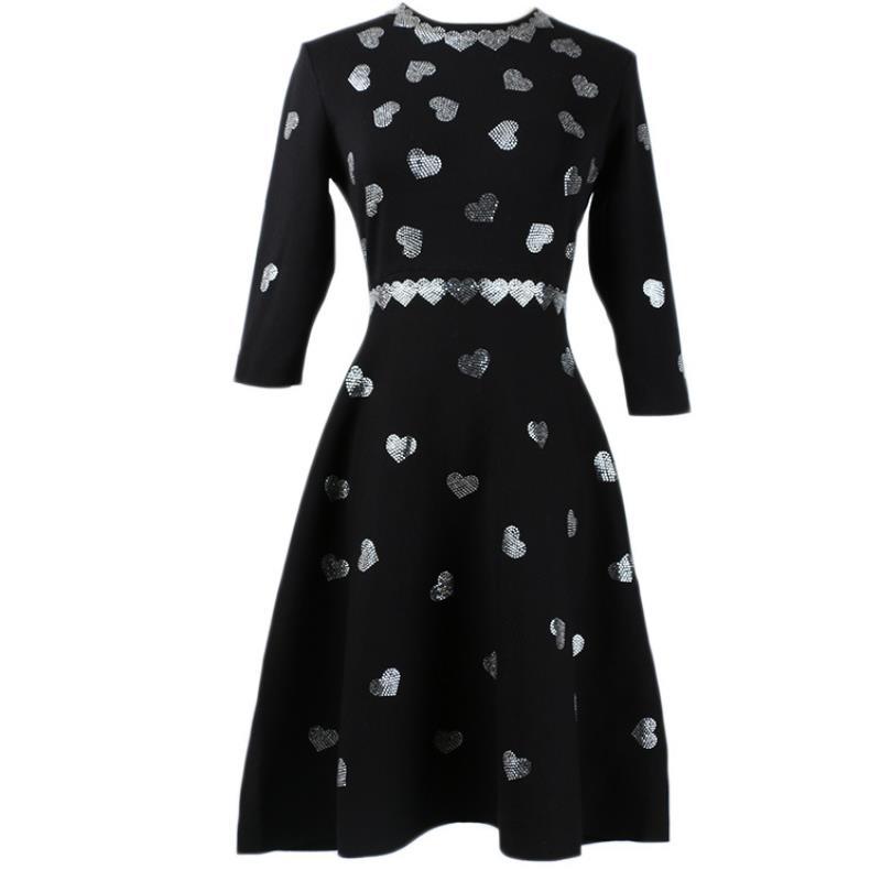 2019 automne nouveau perlé diamants tricoté robe femmes taille haute demi manches rétro a-ligne pull robe
