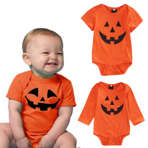 Dropshipping Halloween Newborn Baby Toddler Girls Boys Orange Romper Jumpsuit Clothes Cotton One-piece Outfit 0-18M Autumn kawaii shark print newborn baby girls strap romper jumpsuit one piece sunsuit outfit clothes