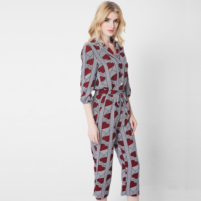 new product 2019 professional comfortable feel Rompers Womens Jumpsuit Plus Size Playsuit Printed Loose V Neck Slleves  Casual Overalls Fashion Ladies Clothing Jumpsuit Suit -in Jumpsuits from ...