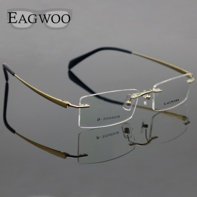 d2db28f3defc25 Pure Titanium Brillen Randloze Optische Frame Recept Spektakel Frameloze  Bril Voor Mannen bril 11090 Slanke Tempel in Pure Titanium Brillen Randloze  ...