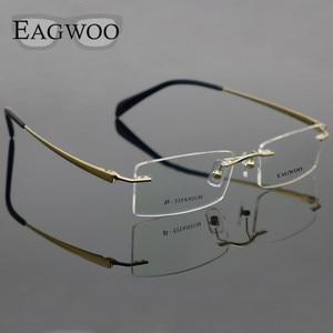 Image 2 - Pure Titanium Eyeglasses Rimless Optical Frame Prescription Spectacle Frameless Glasses For Men Eye glasses 11090 Slim Temple