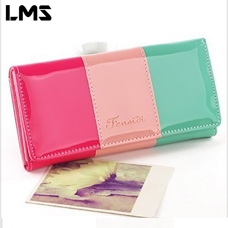 LMS 2017 New Fashion Women Wallets Candy Color PU Leather Patchwork Square Purse Bag Casual Leather Bags For Women B0098