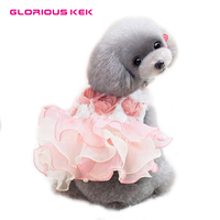 GLORIOUS KEK Dog Dress Pet Clothes Summer Luxury Wedding Dog Dresses For Small Dogs Rose Princess