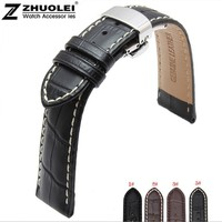 New 18mm 19mm 20mm 21mm 22mm Black Brown Genuine Leather Watchband Watch Band Strap Bracelet With