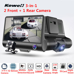 3-in-1 170 Degree 1080P HD Car DVR 2 Front Camera + 1 Rear View Camera Kit Wide Angle Vision Inside Interior Cam Rearview Mirror