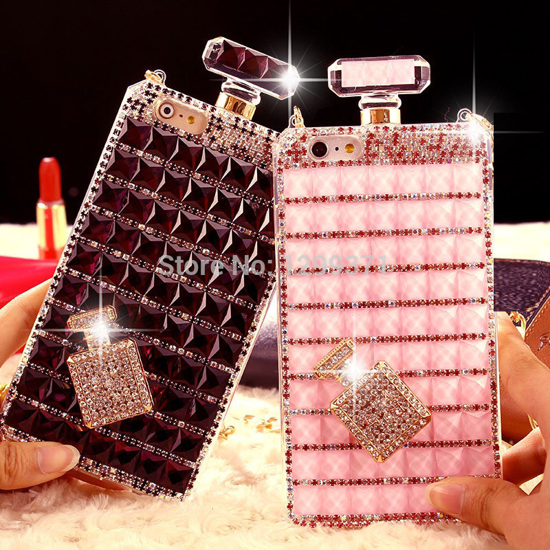 Bling Perfume Bottle Diamond Chain Bolso Funda para Iphone 11 Pro XS Max XR X 8 7 6S Plus Samsung Note 10 9 8 S10E S10 / 9/8 Plus