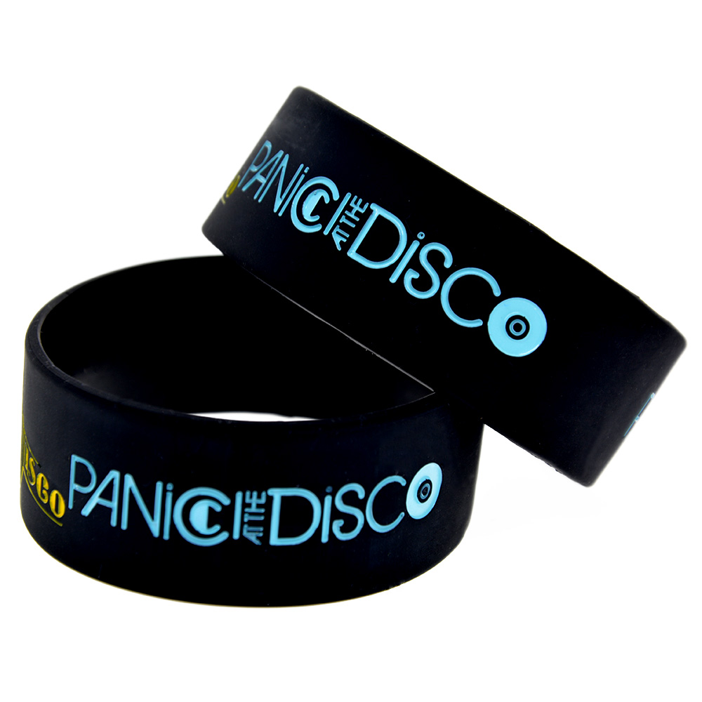 OneBandaHouse 1PC 1 Wide Band Panic at the Disco Silicone Wristband for Music Fans