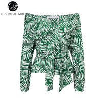 Lily Rosie Girl Off Shoulder Leaf Print Sexy Blouse Shirt Slash Neck Belted Women Blouse Top